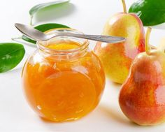 Dżem z gruszek to jeden z popularnych przetworów owocowych Pear Jam, Fermented Foods, Healthy Sweets, Hot Sauce Bottles, Preserves, Cantaloupe, Berries, Mango, Food And Drink