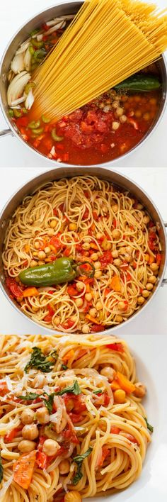 One-Pot Spaghetti Pasta - Spaghetti with Chickpeas and Carrots - healthy pasta idea - weekday dinner - meal planning - weeknight easy dinner