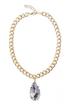Teardrop Stone Chain Necklace in #Gold and #Crystal - 19149 - from @colettehayman (AUD $12.95).