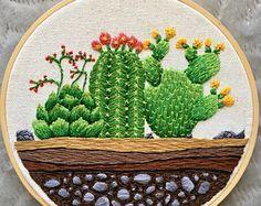 "Hand Embroidered Succulent 6"" hoop - ""Terrarium Blooms"""