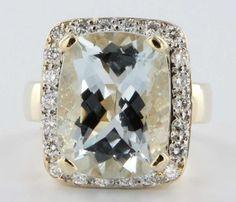 Estate Diamond Aquamarine Princess 14 Karat Yellow Gold Cocktail Engagement Ring Fine Jewelry