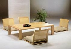 Decorating Dining Room With Minimalist Japanese Interior: Tradtional Japanese Style Dining Table Design With Wooden Material On Furnitures ~...