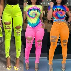 Lazy Day Outfits, Club Outfits, Cute Summer Outfits, Swag Outfits, Summer Fun, Orange Jeans, Pink Jeans, Orange Orange, Girls Fashion Clothes
