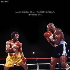 THE WAR: the short violent epic clash between Marvelous Marvin Hagler and Thomas Hitman Hearns Boxe Mma, Marvelous Marvin Hagler, Boxing Images, Boxing History, Boxing Champions, Basketball Pictures, Sport Icon, American Sports, Combat Sport