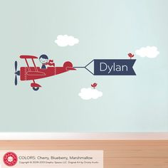 Airplane Wall Decal Boy Message Name Banner for Baby Boy Nursery on Etsy, $50.00