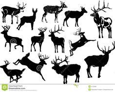 Thirteen Deer Silhouettes Royalty Free Stock Photos - Image: 4172538
