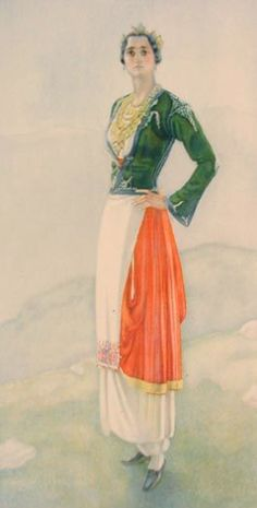 Traditional (Formal) Cretan Attire Illustration