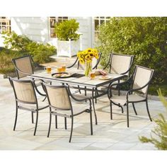 Hampton Bay Fall River 7 Piece Patio Dining Set With Cushion Insert  (Slipcovers Sold Separately) | Patio Dining, Outdoor Dining And Dining Sets
