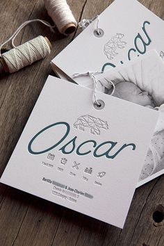 Assembly of the invitation with a black and white photo of Oscar, all on cotton paper / baby boy announcement with digital and letterpress prints / design by Les Alchimistes / printed by Cocorico Letterpress