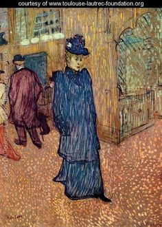 Jane Avril In front Of The Moulin Rouge - Henri De Toulouse-Lautrec - www.toulouse-lautrec-foundation.org