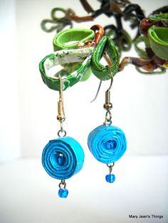 """""""Blue Raspberry"""" Rolled Paper Earrings"""