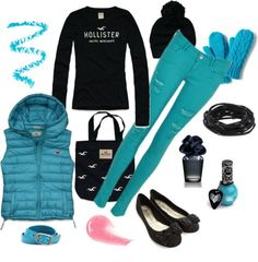 A nice and playful outfit perfect for staying cozy during the cold winter minus those nasty aqua skinny jeans!