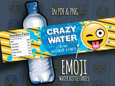 """80% Off Sale Printable Emoji Bottle Labels """"Crazy Water"""" Smiley Wraps, Emoticon Labeling Sticker, Instant Download Birthday Party Supplies"""