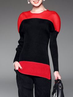 Shop Blouses - Solid H-line Casual Raglan Sleeve Color-block Blouse online. Discover unique designers fashion at StyleWe.com.