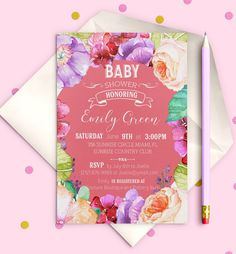 Floral  Baby Shower Invitation Shabby chic Baby by AlniPrints #baby #shower #invitation #invite #rustic #modern #DIY #gifts #digital #printable #Buho #floral #download #Shabby