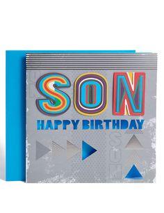 Bright Text Son Birthday Card
