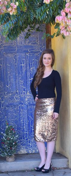 ONLY $34.95 & FREE Shipping! This amazing sequin pencil skirt features a gold sequin overlay, a back zipper, no slit and fully lined. Pencil silhouette. This Gold Metallic Sequin Skirt is a holiday staple for any event! A classic piece of couture that will never go out of style. Skirt has slight stretch in waist for better fit and comfort. 100% Polyester Pencil Skirt / Gold Pencil Skirt/ Sequin Skirt/ Gold Sequin Skirt/ Holiday Glam/ Gold Sequin Pencil Skirt. #willowblaireboutique