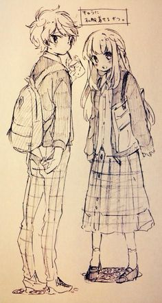 ✮ ANIME ART ✮ anime boy. . .anime girl. . .fashion. . .cute clothes. . .jacket. . .skirt. . .pants. . .sweater. . .backpack. . .doodle. . .sketch. . .graphite. . .ink. . .cute. . .kawaii
