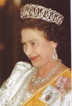 February 1986 - Queen Elizabeth at a state banquet in Nepal