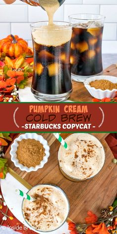 Pumpkin Cream Cold Brew - a homemade pumpkin cold foam gives this cold brew coffee a fall flavor. Make this easy Starbucks copycat recipe at home. Sugar free and dairy free options as well. Starbucks Recipes, Ninja Coffee Bar Recipes, Starbucks Pumpkin, Coffee Drink Recipes, How To Order Starbucks, Coffee Drinks, Dairy Free Starbucks Drinks, Cold Brew Coffee Recipe, Pumpkin Coffee Recipe