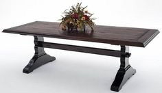 Reclaimed Hardwood Dining Table - Trestle Base - Shown Painted Black - Item #DT00204 - Custom Sizes - 16 Custom Color or Natural Finish Options - Heavy or Light Distressing Options