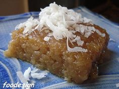 A favorite snack in the Philippines with many versions throughout Asia, this particular rice cake recipe was shared to me by our neighbor a. Rice Cake Recipes, Coconut Recipes, Rice Cakes, Snack Recipes, Dessert Recipes, Snacks, Pinoy Dessert, Filipino Desserts, Asian Desserts