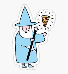 """""""Pizza Wizzard"""" Stickers by obinsun Stickers Cool, Bubble Stickers, Phone Stickers, Printable Stickers, Planner Stickers, Aesthetic Stickers, Cute Drawings, Doodles, Illustration"""