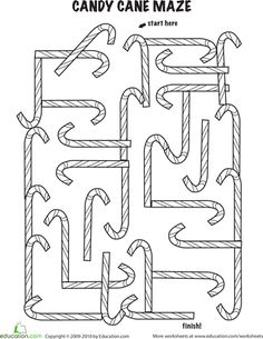 Worksheets: Follow the Candy Cane Maze. Great for Caroline's birthday party.