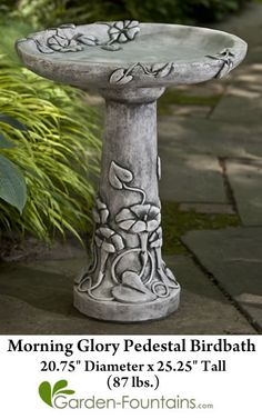 Morning Glory Pedestal Birdbath,beautiful morning glories climb the pedestal and wrap around to the top of this decorative birdbath