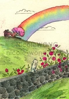 Rainbow and the kitty, painting by artist Nicole Wong