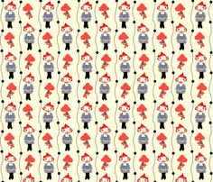 Woodland Girl (Red and Blue) fabric by jhoanna_monte on Spoonflower - custom fabric