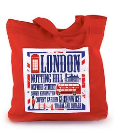 Take a look at this Red London Collage 18'' Tote Bag by Mariasch Studios on #zulily today! $17 !!