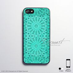 iPhone 5 case, iPhone 5 cover, case for iPhone 5, mint tiffany emerald teal turquoise floral pattern S512