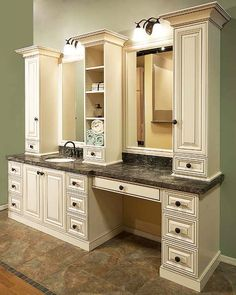 Rome Antique White Bathroom Vanity Dark Counter Top Tile Designed By Cly Closets