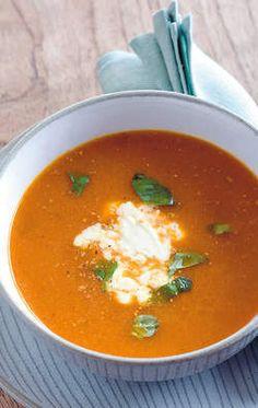Soep van geroosterde paprika... Met tomaat enz. Lijkt lekker.