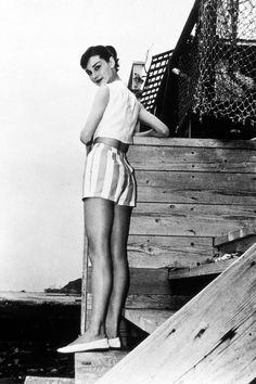 Audrey Hepburn on holiday in Malibu, 1956