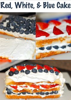4th of July Dessert - Red White & Blue Cake! This is made with strawberries, blueberries , and cool whip!