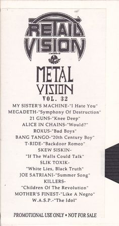 MetalVision 12 / Promo VHS Videotape #AliceInChains #Megadeth #JoeSatriani #Killers #Roxus #BangTango #WASP #Music #Videos