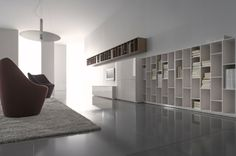 Ligne Roset Book and Look. A collection of storage, associating shelving D28, chests with doors D45 and podiums D60 CM. Shelving units in 10 mm thick panels finished in gloss white laccquer,walnut veneer,mastic lacquer,argile lacquer or elephant lacquer.Chests with 2 or 4 doors in gloss white, mastic,argile or elephant lacquered panels, or 1-door chests W 105 with clear glass doors with a lacquered aluminium frame. All fronts are equipped with a 'push-catch' opening system.