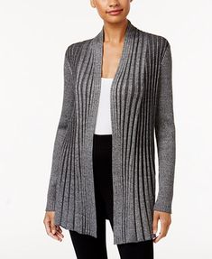 Image 1 of NY Collection Ribbed Open-Front Cardigan