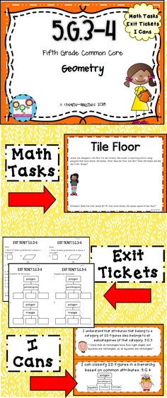 5th grade geometry standards 3-4: 2d shapes. Math tasks, exit tickets, I cans. $   #2dshapes #geometry #mathtasks