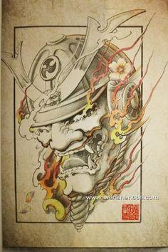 武士般若与火焰纹身手稿