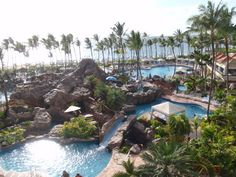 The Grand Wailea, Maui.  Just a small portion of their pools and swimming areas.  I think they have like 10 consecutive slides from pool to pool and also a water elevator! SO FUN!