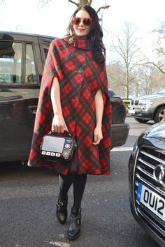 Tartan Cape #Coat Street Style at London #Fashion Week Fall 2013 #LFW Photo by Anthea Simms