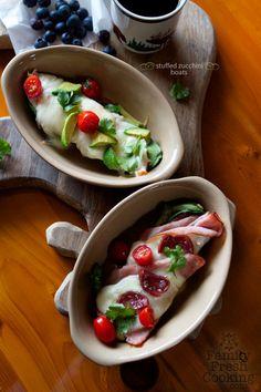 Stuffed Zucchini Boats // Gluten Free, Grain Free Veggie Pizzas // FamilyFreshCooking.com