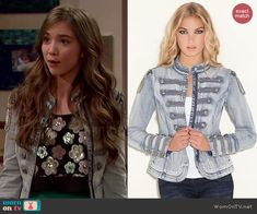 Riley's floral sequin top and denim military jacket on Girl Meets World. Outfit Details: https://wornontv.net/43369/ #GirlMeetsWorld