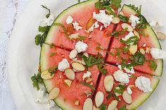 Watermelon Salad with Feta, Almonds & Mint