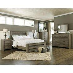 Zelen 4 Piece Queen Bedroom Set in Warm Gray | Nebraska Furniture Mart