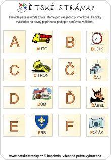 Pexeso - abeceda (A-F) Adhd, Special Education, Montessori, Alphabet, Preschool, Letters, Teaching, Books, Fun