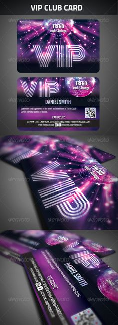 VIP Club Membership Card  #GraphicRiver         VIP Club Membership Card  	 Zip File contains 2 PSD File layered, print ready CMYK at 300dpi. Size: 3.4 inc X 2 .2 inc.  	 Free fonts used in design, details in readme.txt, you will also find instructions how to generate the QR codes.     Created: 17July12 GraphicsFilesIncluded: PhotoshopPSD Layered: Yes MinimumAdobeCSVersion: CS PrintDimensions: 3.4x2.2 Tags: card #club #colorful #dance #dark #disco #member #membership #owner #party #pass #vip